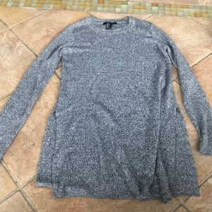Long Grey Knit Sweater with Side Slits